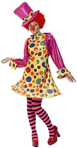 Smiffys 32882S Damen Clown Kostüm, Reifkleid, Hemd, Fliege, Gestreifte Strumpfhose und Hut, Größe: S, 32882