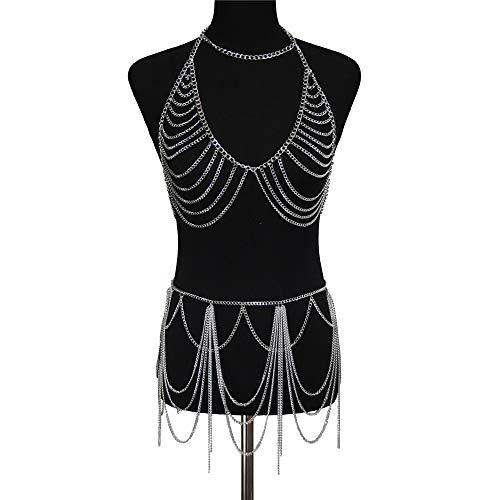 Fengbingl Mehrschichtige Legierung Brust Kettenrock Anzug Persönlichkeit Metall dekorative Körper Halskette (Farbe : Silber)