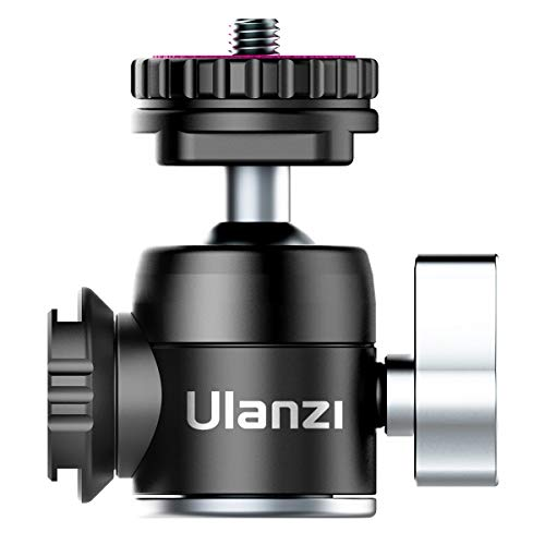 Ulanzi 2020版自由雲台 二つシュー付き ボールヘッド アルミ製 360度 ビデオ カメラ 三脚 一眼レフ DSLR 用...
