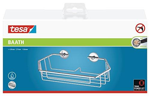 Preisvergleich Produktbild Tesa baath Plus Duschgelhalter und Shampoohalter (27cm breit,  verchromt,  inkl. Klebelösung,  77mm x 270mm x 126mm)