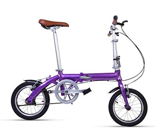 Bicicletta Piegante Della Lega Di Alluminio Della Bicicletta Della Bicicletta Della Bicicletta Dell'automobile Del Regalo Della Bicicletta Del Pedale Della Bici,Purple-14in