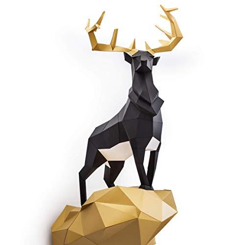 ORIGADREAM, kit de ciervo real pre-cortado NUEVO PUZZLE 3D MODERNO venado montar por uno mismo para la decoración de la pared DIY PAPERCRAFT escultura de papel low poly