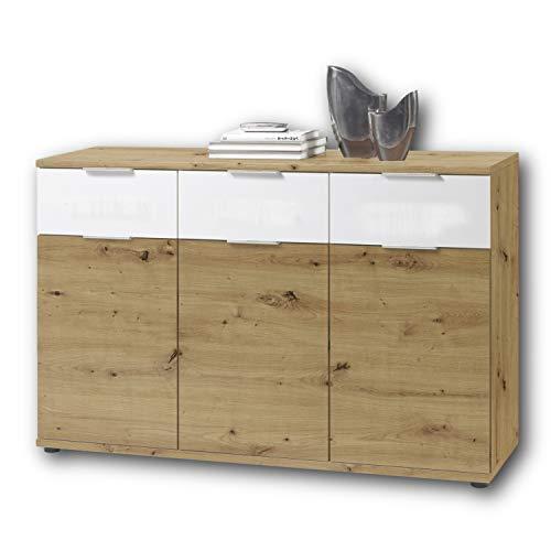Stella Trading Universal Kommode in Artisan Eiche Optik, weiß - Schlichtes Sideboard mit viel Stauraum für Ihren Wohnbereich - 135 x 90 x 40 cm (B/H/T)