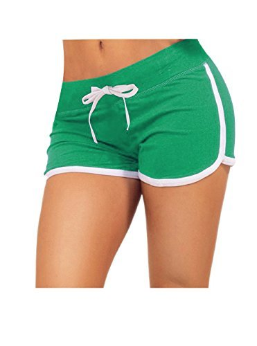 Little Beauty Women Running Active Lounge Booty Shorts with Drawstring Green M