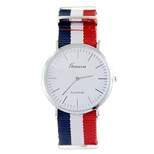 Geneva-Reloj de pulsera de tela negro tipo de pantalla: agujas-Materiales: acero inoxidable-cierre: agalla