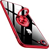 Bafeibili iPhone se 2020 Case iPhone7 Case iPhone8 Case 4.7' Clear Crystal 360° Rotatable Ring Kickstand Holder Support Car Mount Shock Drop Proof TPU Transparent Cover Phone Case,Red