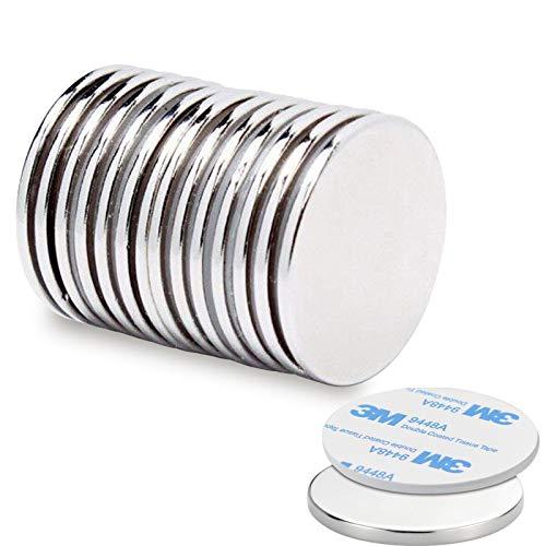 10 Stück Neodym Magnete, Seltenerdmagnete mit Selbstklebende, 32mm X 2mm rund & extra stark N52 Magnete für Whiteboard, Kühlschrank, Fotos, Magnetstreifen, Magnettafel, Fotoseil, Basteln