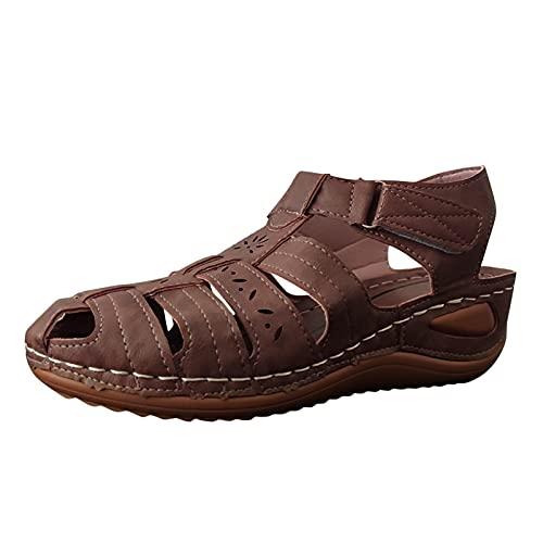 Sandals for Women Platform Sandals Wedge Sandals Roman Style Hook&Loop Cover Foot...