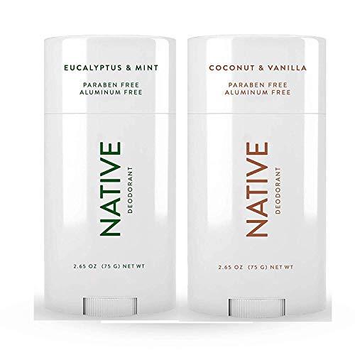 Native Deodorant - Natural Deodorant For Women and Men - 2 Pack - Aluminum Free, Free of Parabens - Contains Probiotics - Coconut & Vanilla And Eucalyptus & Mint