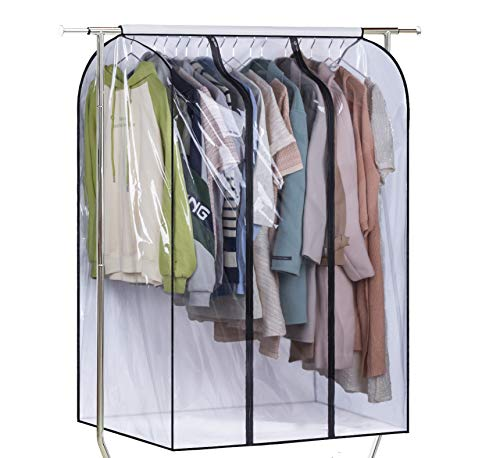 SLEEPING LAMB 50 Extra Large Clear Hanging Garment Bags for Closet Storage Bottom Enclosed Garment Rack Cover Sealed Wardrobe Clothes Protector for Coats Suits Dresses (Not Including Frame)