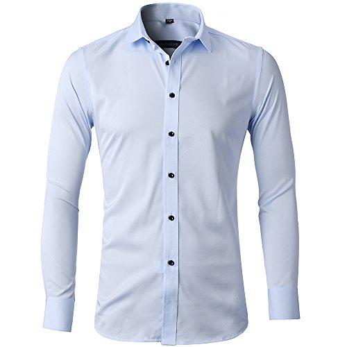 Camisa Bambú Fibra Hombre, Manga Larga, Slim Fit, Camisa Elástica Casual/Formal para Hombre, Celeste, 38 (Cuello 38CM, Pecho 96CM)