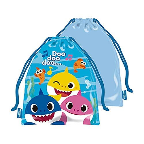 EVOLUX Bolsa con cuerdas infantil colegio guarderia con dibujos, mochila con cordones para niños Bolsa para regalo, deporte, meriendas (Baby shark)