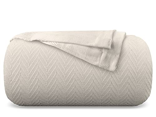 Mayfair Linen 100% GOTS Certified Organic Cotton Super-Soft and Breathable Bed/Throw Blanket Herringbone Design - Twin, Beige