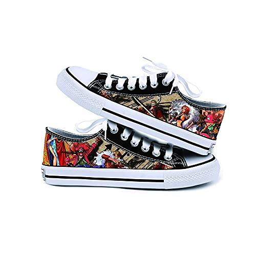 JPTYJ One Piece Monkey·D·Luffy/Roronoa Zoro Zapatos de Lona Unisex Zapatillas Altas Zapatos con Cordones de Anime B-40