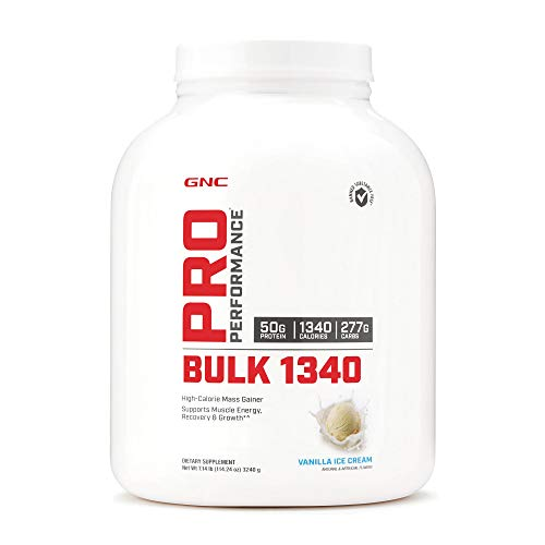 GNC Pro Performance Bulk 1340 - Vanilla Ice Cream, 9 Servings, Supports Muscle Energy, Recovery and Growth