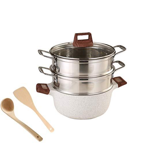 hongbanlemp Vaporeras para ollas Cocinar Capa Pot hogar Vapor Doble Vapor del alimento apilable Insertar sartenes Utensilios de Cocina al Vapor Vaporera
