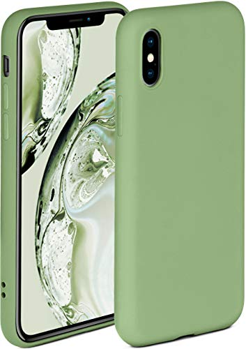 ONEFLOW Cover morbida compatibile con iPhone X/iPhone XS, in silicone, bordo rialzato per la protezione dello schermo, doppio strato, morbida custodia – verde opaco
