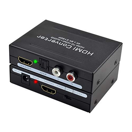 4K HDMI 1.4 Audio Extractor, Snxiwth HDMI zu HDMI und Optischer Toslink (Spdif) und Cinch (L/R) Stereo-Analogausgänge Video Audio Splitter Converter Unterstützung 4K