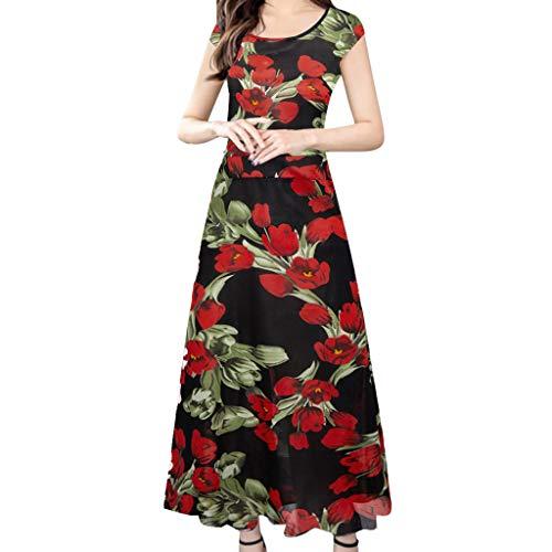 WENOVL Maxi Dresses for Women,Women Fashion Summer Elegant O-Neck Short Sleeve Loose Printing Dress Red