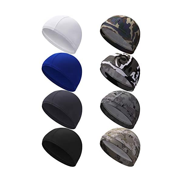 SATINIOR 8 Pieces Cycling Beanie Caps Helmet Liner Hats Sweat Wicking Hats for Men Women Sports Supplies