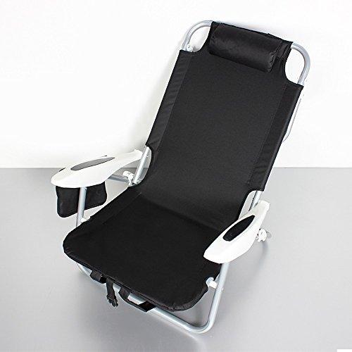 Chaise Longue Chaises pliantes en plafond Chaises de dossier portables Chaises de chasse Lits de repos pour le repos Aluminium Pénissures (Couleur : Noir)