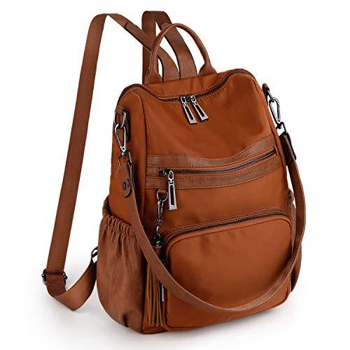 UTO Women Backpack Ladies Shoulder Bag 3 Ways Rucksack Handle Strap Multi Compartment Sturdy Zipper Anti Theft Pocket Tassels Oxofrd Tawny