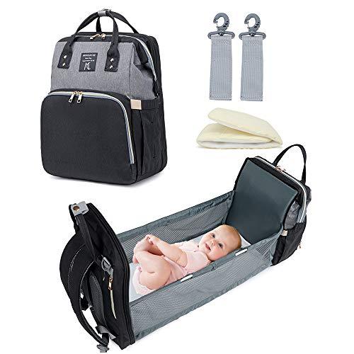 Mooedcoe Bolsa de Pañales Convertible para Bebé, Bolsa de Cambio de Pañales Portátil, Mochila Plegable Impermeable para Cama de Bebé, Bolsa de Viaje Multifuncional para Bebé con Cojín de Esponja