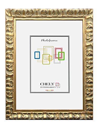 Chely Intermarket, Marco de Fotos 30x40cm Dorado Mod-217| Estilo Barroco | Marco de Madera para Decoración de Casa | Fotografías de Boda | Listado de Precio