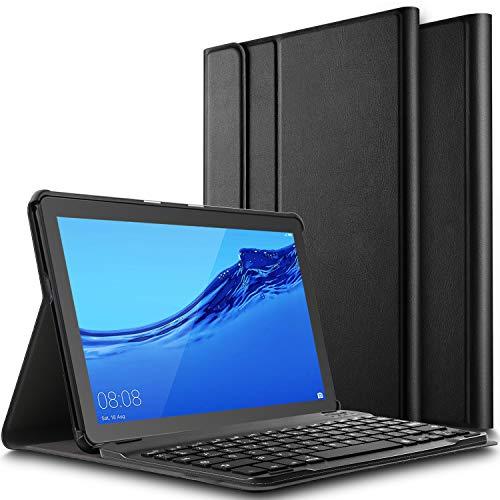ELTD Funda Teclado Español Ñ para Huawei MediaPad T5 10 10.1, Protectora Cover Funda con Desmontable Wireless Teclado, (Negro)