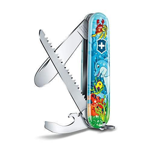 Victorinox Set di coltelli tascabile Children, edizione Delphin (9 funzioni, lama senza punta, cacciavite, sega per legno) con nastro per il collo e libro da colorare