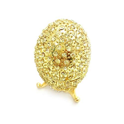 Heall Caja de joyería esmaltada de Huevo Titular de la joyería del Rhinestone Anillo Huevo Ornamento Organizador de Escritorio para el hogar Oro índice Suministro