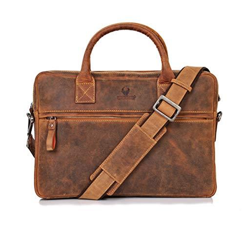 Donbolso Notebooktasche Marseille 13,3 Zoll Leder I Umhängetasche für Laptop I Aktentasche für Notebook I Tasche für Damen & Herren (Braun)