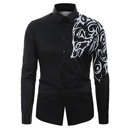 Luckycat Herren Business Hemd Slim Fit für Freizeit Hochzeit Reine Farbe Hemden Langarmhemd Hemd Herren Kariert Langarm Trachtenhemd Drucken Freizeit Männer Shirt