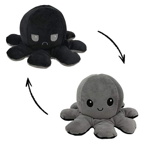 MORANGO Peluche Pulpo Reversible, Peluche de Juguete, Lindo Pulpo de Peluche, Flip Octopus Doble Cara, Juguetes Creativos, Muñeco Pulpo Doble Cara, muñeco Original de Felpa. (Negro-Gris)