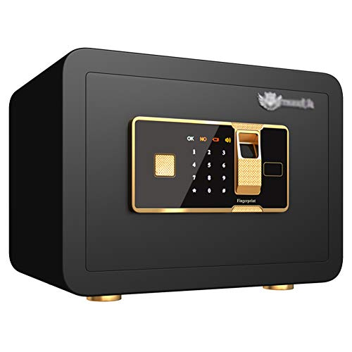 Tresor Safe,Elektronisches Zahlenschloss mit Fingerscan-Modul,35x25x25cm,Sicherheitsschrank,für Wertgegenstände und Dokumente,Black