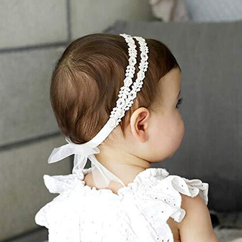 Fashband Baby Mädchen Stirnbänder elastische Doppelspitze Blume Stirnband weichen Bogen Headwrap Haarschmuck für Mädchen