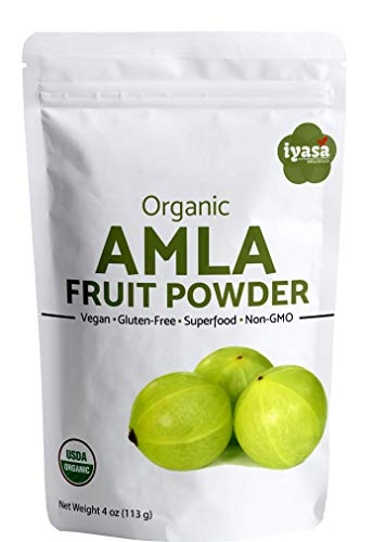 Organic Amla Fruit Powder, Amalaki Berry Powder, Trial pack of 4 ounce/112 gm, USDA Organic, Raw Superfood, Immunity Booster, Promotes Skin and Hair Growth, Resealable Pouch