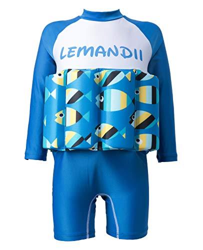 Lemandii Traje de banho com proteção solar FPS 50+ de manga comprida para meninos e crianças, uma peça com zíper ajustável nas costas para bebês de 1 a 10 anos (azul peixe, altura: 80 a 89 cm/peso: 9 kg a 12 kg)