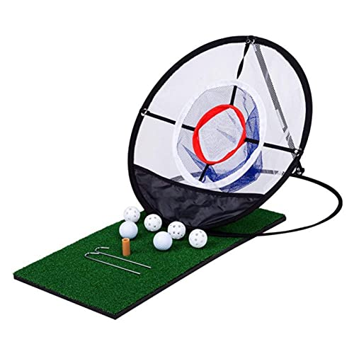 ZBYD Adult Children Training Net High Indoor and Outdoor Golf Three-Layer Practice Net Practice Easy Net Golf Training Aids 415 (Color : Black+White, Style : Strike Net+Pad)
