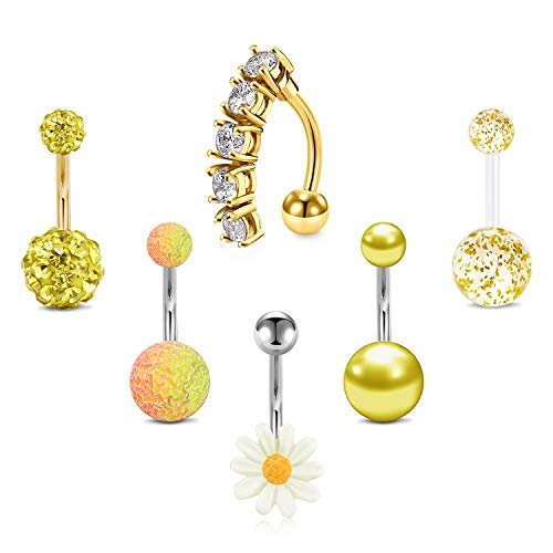LAURITAMI 6 stuks gouden navelpiercing buikpiercing 10 mm barbell chirurgisch staal & acryl CZ bloem reverse sieraden 14 G dames meisjes
