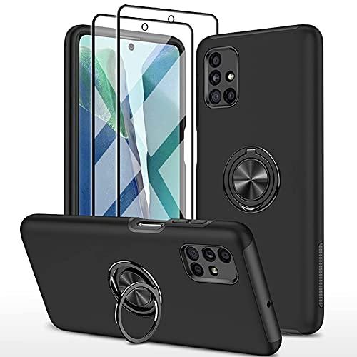 SmaCase Funda Compatible con Samsung Galaxy M51 Carcasa +2 Piezas Protector de Pantalla 360 Grados Anillo Giratorio para Soporte - Negro