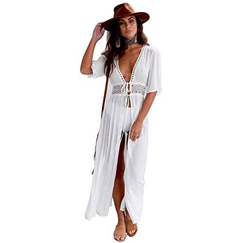 OrientalPort Strandkleid Damen Strandponcho Sexy Rückenfrei Spitze Häkelkleid Sommer Bademode Bikini Vertuschen Strand Kurze Kleid (* Weiß)