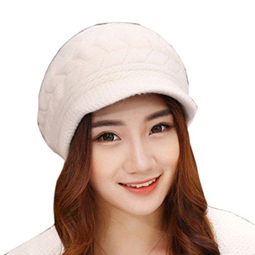 Elonglin gorro feminino de inverno tricotado canelado, gorro despojado, gorro de esqui forrado, Branco, tamanho �nico