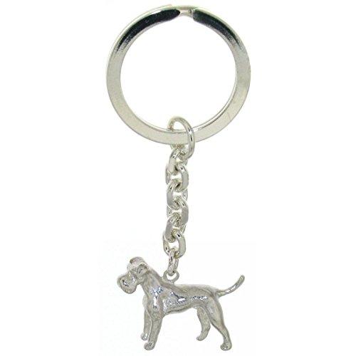 Derby Schlüsselanhänger Schnauzer Hunderasse massiv echt Silber 29036