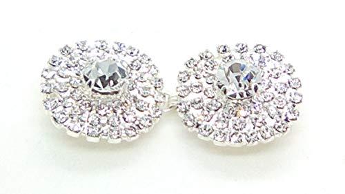 ALAMARI Bottoni Fermagli Strass Rotondi PLACCATI Argento per Stola da Sposa Mantellina Cardigan Pellicce Giacche ECOPELLICCE Spose