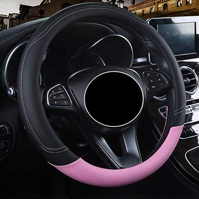 Auto Steeting wieldoppen for P-e-u-g-e-o-t Alle Model 4008 RCZ 308 508 301 301 307 207 2008 3008 206 408 5008 607 (Color : Pink, Size : Free)