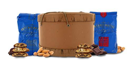 Cantucci alle Mandorle + Biscotti al Cioccolato Fondente in Cappelliera, Biscotti Toscani in Confezione Regalo - 500g