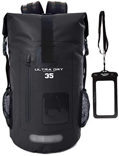 Ultra Dry Adventurer Sac à dos étanche avec pochette étanche pour téléphone–Idéal pour bateau, kayak, pêche, rafting, natation, camping et snowboard, Noir , 35 L