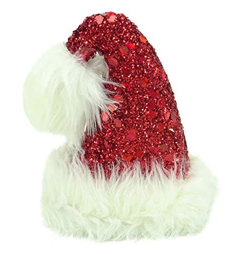 christmasshop 17 Centimetri Red Paillette & Glitter Cappello della Santa con Bianco Disposizione della Pelliccia Faux Decorazioni di Natale