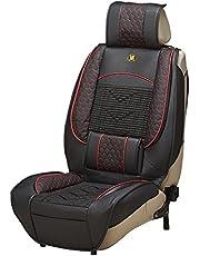 Blueshyhall 1 x uniwersalny skórzany pokrowiec na fotel samochodowy, podparcie pleców, masaż lędźwiowy, łagodzi zmęczenie podczas jazdy, 140 x 50 cm, kolor czarny
